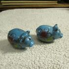 Vintage Ceramic Pigs with Flowers Salt Pepper Shakers w Plugs NOS Japan 1960s