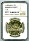 1965 1 CANADA SILVER DOLLAR NGC PL64 SMALL BEADS BLUNT 5 VOYAGEUR