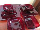 1950's Anchor Hocking Mid Century Ruby Red Charm Cups, Saucers, Plates