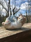 NAO BY LLADRO KITTY CAT WITH BLUE BALL OF YARN FIGURINE 1978 HANDMADE
