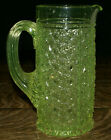 EAPG Vaseline Glass Daisy Buttons w Bars Pitcher w Applied Handle  7 3 4