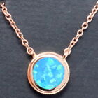 Solitaire Round Blue Opal Necklace Women Engagement Jewelry 14K Rose Gold Plated