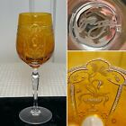 Signed VARGA CRYSTAL Amber Yellow Etched IMPERIAL 10 oz Water Wine Glass Goblet