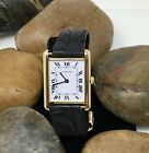 Cartier 18K Yellow Gold Tank Louis Watch with Leather Band