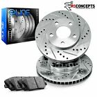 For 1984 1985 Jeep Cherokee Front eLine Drill Slot Brake Rotors+Ceramic Pads