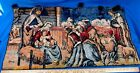 Antique Rare Embroidered Woven Nativity Curtain Panel Cloth Baby Jesus Xmas Rug