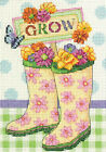 Dimensions Counted Cross Stitch Kit ~ Grow Colorful Garden Boots #70-65127 SALE!