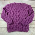 Handmade Funky Chunky Fuzzy Alpaca Wool Roomy Cable Sweater M L XL Pink