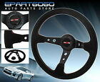 350mm Deep Dish Suede Leather Red Stitching Steering Wheel Jdm Vip Godsnow Horn