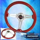 For Nissan 6 Bolt Hole Red Wood Grain Aluminum 3 Spokes Godsnow Steering Wheel