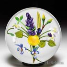 Chris Buzzini 1992 China rose violet and lilac bouquet glass paperweight