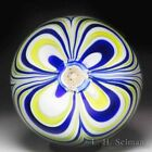 John Deacons 2017 marbrie and rose cane in matching yellow and blue paperweight