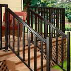 Easy Install Aluminum Stair Hand and Base Rail Kit Black Porch Balcony Deck 6 ft