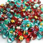 Glass flower Beads Hand painted Daisy Leaf mix 13mm Round DIY Jewelry 20 pcs