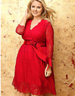 Lane Bryant Belted Lace Dress Womens Plus 26 28 Red Party Cocktail 4x
