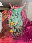 Ann Primrose Signed Murano Italian Blown Glass Abstract Colorful Vase 3D Floral