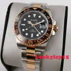 Fashion two tone BLIGER 40mm black dial sapphire glass GMT Automatic mens watch