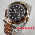 Two tone BLIGER 40mm black dial date sapphire glass GMT Automatic mens watch