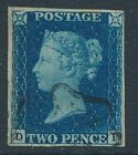 SG 5 1840 2d Blue plate 2 lettered DJ Very fine used with a part Black maltese