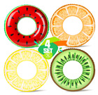 KIDPAR 4PCS Pool Floats for Adults and Kids Inflatable Fruit Swimming Tube