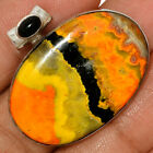 13g Indonesian Bumble Bee  Black Onyx 925 Silver Pendant Jewelry AP175264