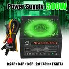 500W PC Power Supply 24 Pin PCI ATX SATA Computer 120mm Silent LED Cooling Q