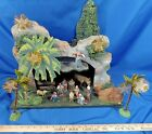 HUGE Putz German Antique Nativity Scene Set Wood Creche Palm Tree Stable Manger