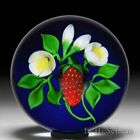 Victor Trabucco 1987 red strawberry with white blossoms glass paperweight