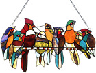 Glass Panel Handcrafted 8 Birds on a Wire Stained Glass