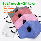 BLACK BLUE RED PINK Reusable Cotton Face Mask Cover Respirator VALVE +Filters