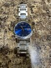 NEW 100% Swiss Burberry Large Check Stamped Blue Face Sapphire Watch Mens BU9031