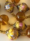 Vintage Venetian Glass Wedding Cake Beads Yellow Necklace 31
