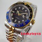Two tone BLIGER 40mm black dial sapphire glass Golden GMT Automatic mens watch