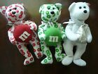 3 Vintage Red Green M&M's Hershey Kiss Chocolate TY Beanie Babies w/tags 2008