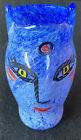 Vintage Kosta Boda Ulrica Hydman Vallien Open Mind Face Blue Glass Vase