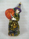 Slavic Treasures Carving Crone Witch Blown Glass Ornament 6 Tall Halloween HTF