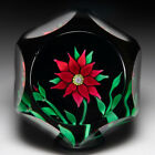 Saint Louis 1970 red clematis and bud faceted glass paperweight