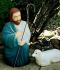 VTG Empire Shepherd with Individual Sheep Lamb Blow Mold Nativity Christmas