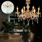 6 Arms Chandelier E12 Pendant Lamp Crystal Glass Ceiling Light Luxurious Gold