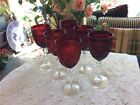 Set Of 6 DArques Durand Arcoroc Vtg Glasses Ruby Red Wine Glass Cl