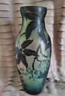 GALLE INSPIRED VASE ART NOUVEAU GLASS ACID ETCHED EMBOSSED CAMEO 14 LARGE MINT