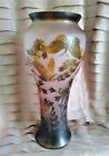 GALLE INSPIRED VASE ART NOUVEAU PINK GLASS ETCHED EMBOSSED CAMEO BUTTERFLIES 13