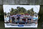 Ford Garage Vintage Mustang Hot Rat Rod Woody Old Truck Surfboard Canvas Picture