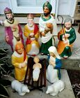 Poloron 10 piece Nativity Lighted Blow Mold Set Christmas Set w Cords and Manger