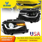 LED Headlights For 2014 2015 Chevy Camaro Sequential DRL Front Lamps Projectors