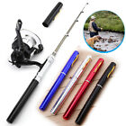 Mini Fishing Rod Bait Telescopic Portable Pocket Aluminum Alloy Pen Pole Reel US