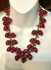 massive dangling BOHEMIAN CZECH GLASS BEADS STRAWBERRY NECKLACE red leaves Fruit