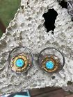 VINTAGE MIXED METALS WITH FUSED ART GLASS CIRCLES POST BACK EARRINGS ESTATE
