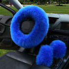 3X Fur Car Steering Wheel Cover Mature Gem Blue Wool Furry Fluffy Thick Winter P