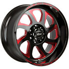 4 Offroad Monster M22 22x12 8x170 44mm Black Red Wheels Rims 22 Inch